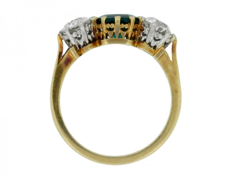 back view Emerald and diamond three stone ring,
