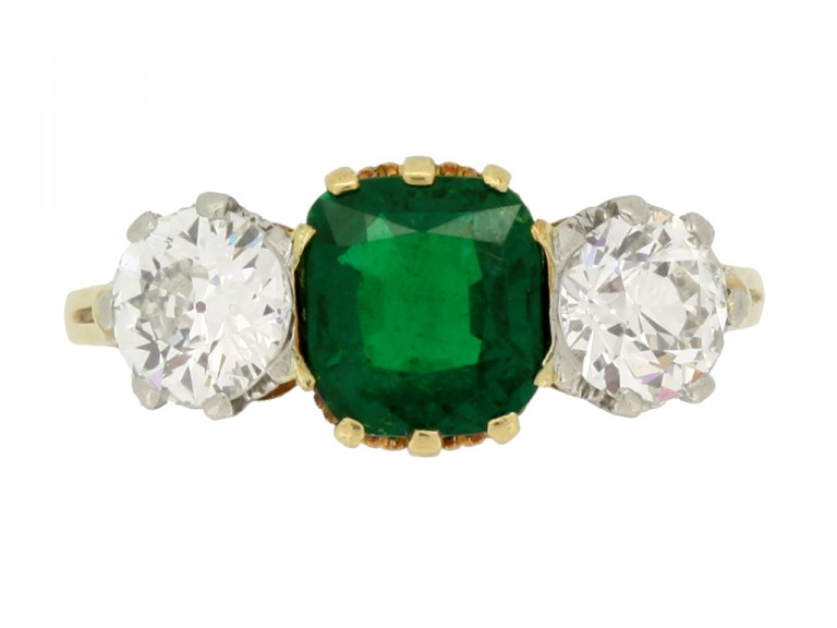 front view Emerald and diamond three stone ring,
