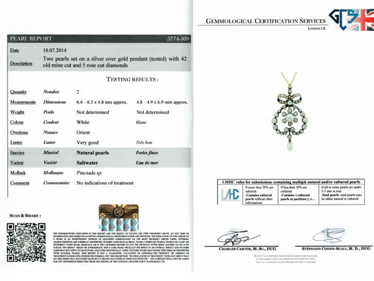 Victorian natural pearl diamond pendant,t berganza hatton garden