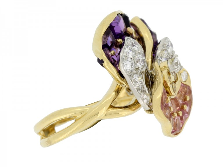 side view Oscar Heyman Brothers pansy ring