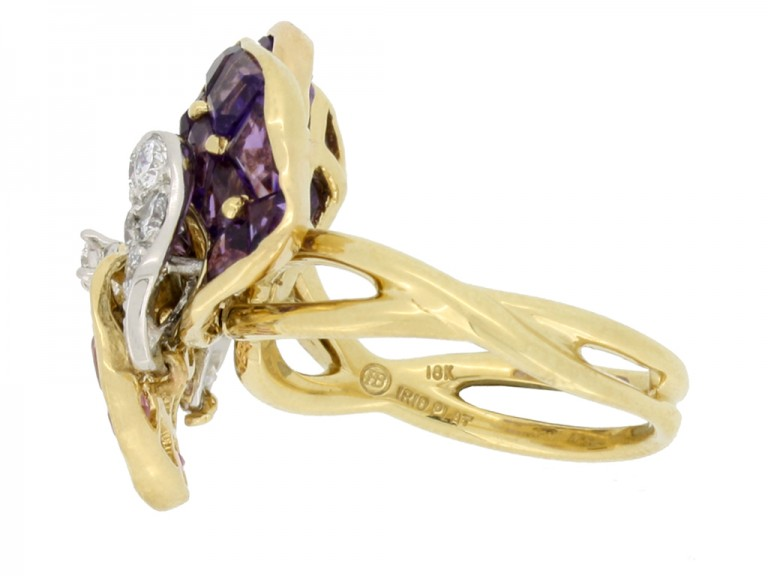 side Oscar Heyman Brothers pansy ring