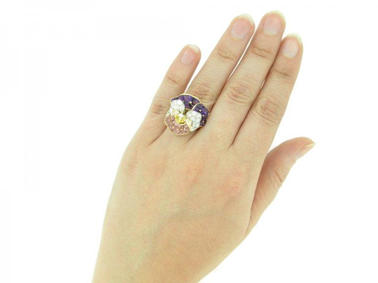 hand veiw Oscar Heyman Brothers pansy ring