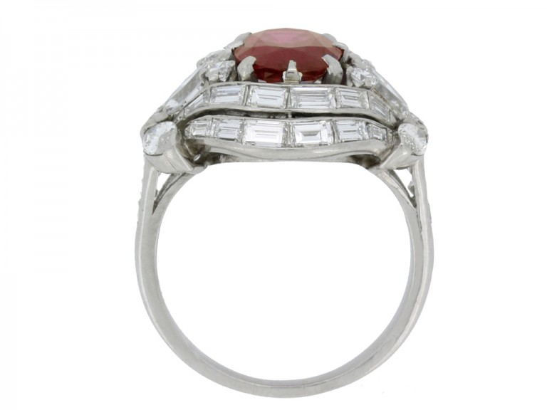 back view Burmese ruby and diamond cluster ring