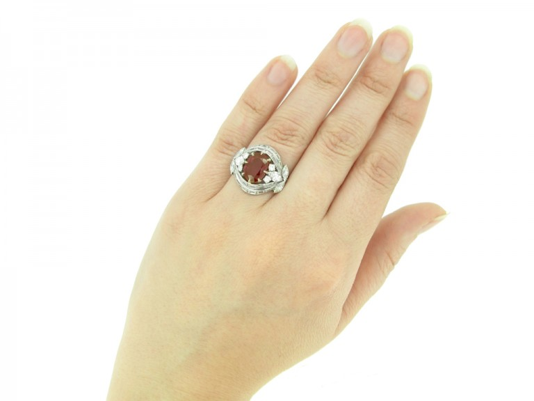 hand view Burmese ruby and diamond cluster ring