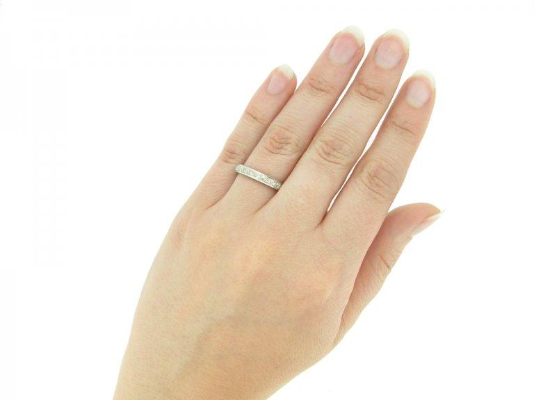 hand view Diamond set eternity ring, circa 1930.