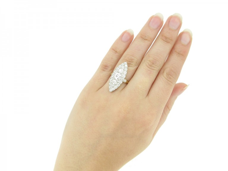 hand view Antique diamond marquise shape cluster ring