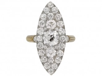 front view Antique diamond marquise shape cluster ring