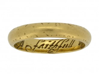 front view gold posy ring berganza hatton garden