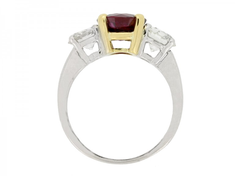 back view Ruby and diamond three stone ring