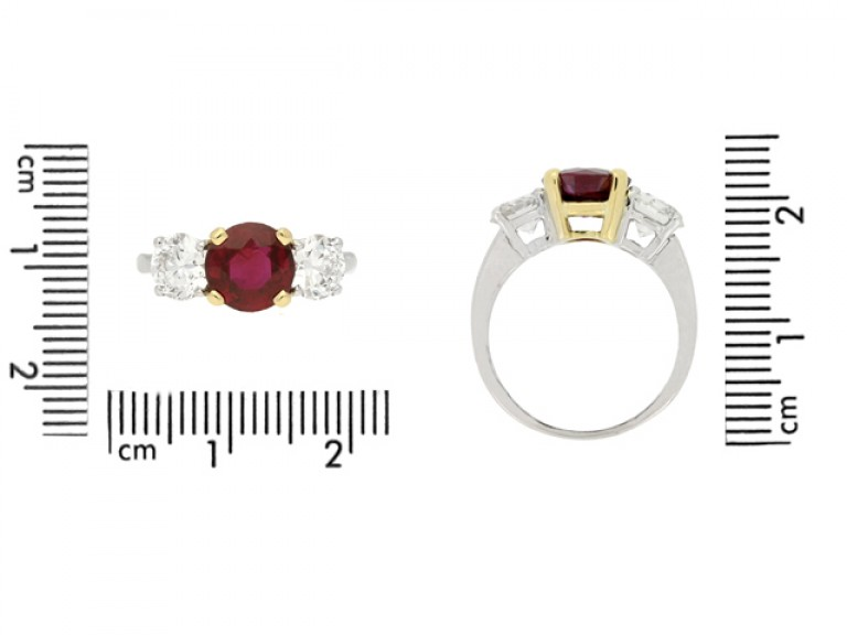 size view Ruby and diamond three stone ring