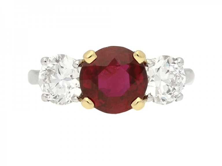 front view Ruby and diamond three stone ring