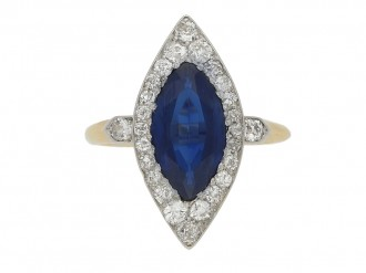 front view Antique marquise sapphire and diamond cluster ring