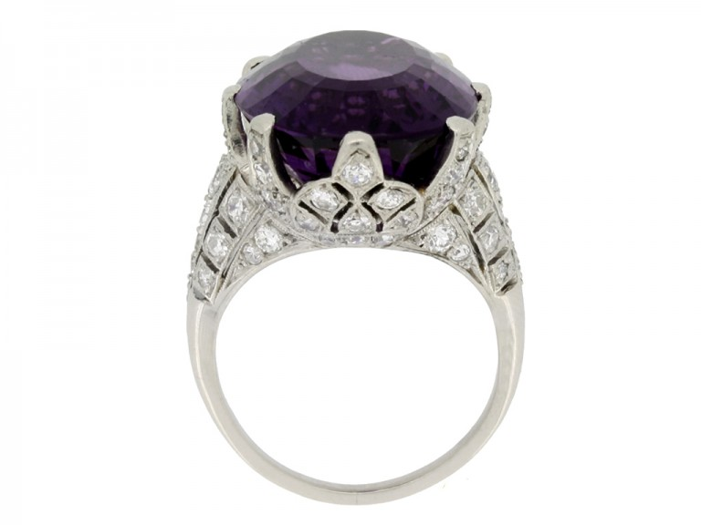 Solitaire amethyst and diamond set dress ring