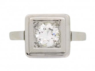front view art deco diamond engagement ring hatton garden berganza