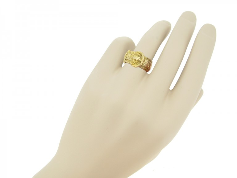 hand view Antique gold buckle ring