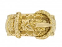 front view Antique gold buckle ring