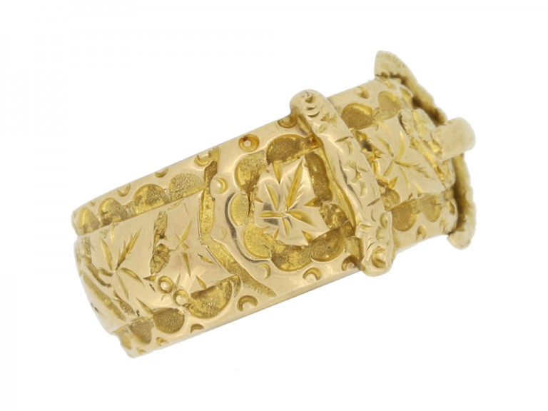 side view Antique gold buckle ring