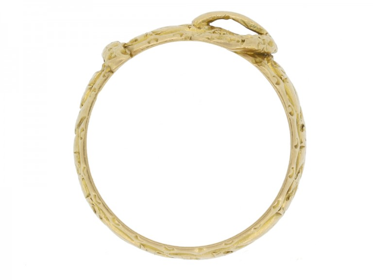 back view Antique gold buckle ring