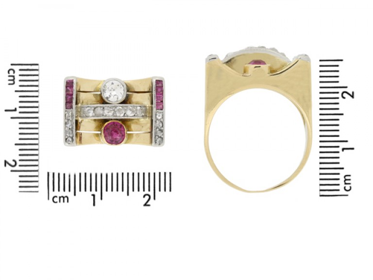 size view Vintage ruby and diamond cocktail ring