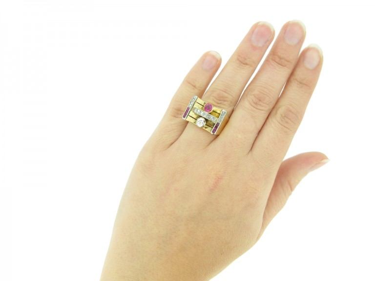 hand view Vintage ruby and diamond cocktail ring
