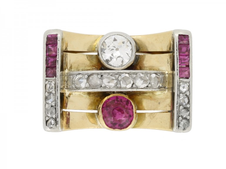 front view Vintage ruby and diamond cocktail ring