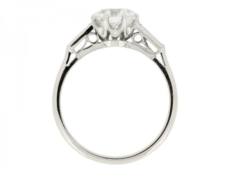 back view Old cut diamond engagement ring