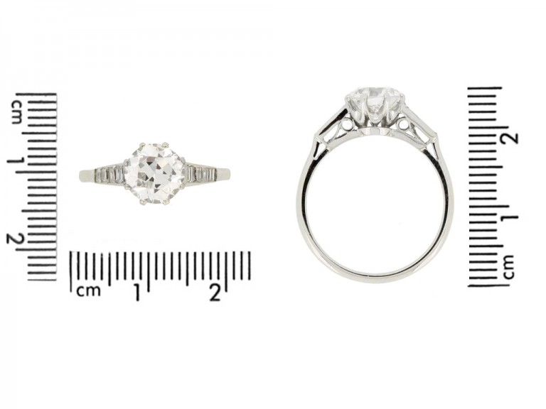 size view Old cut diamond engagement ring