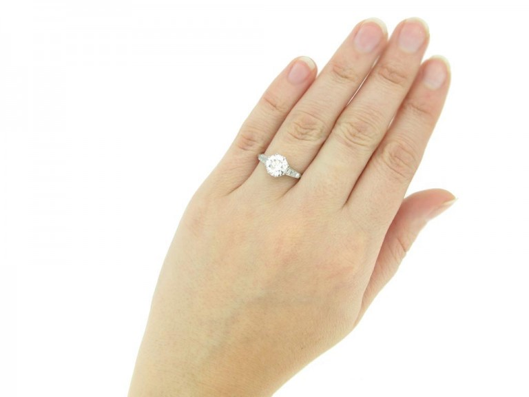 hand view Old cut diamond engagement ring