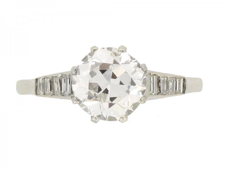 front view Old cut diamond engagement ring