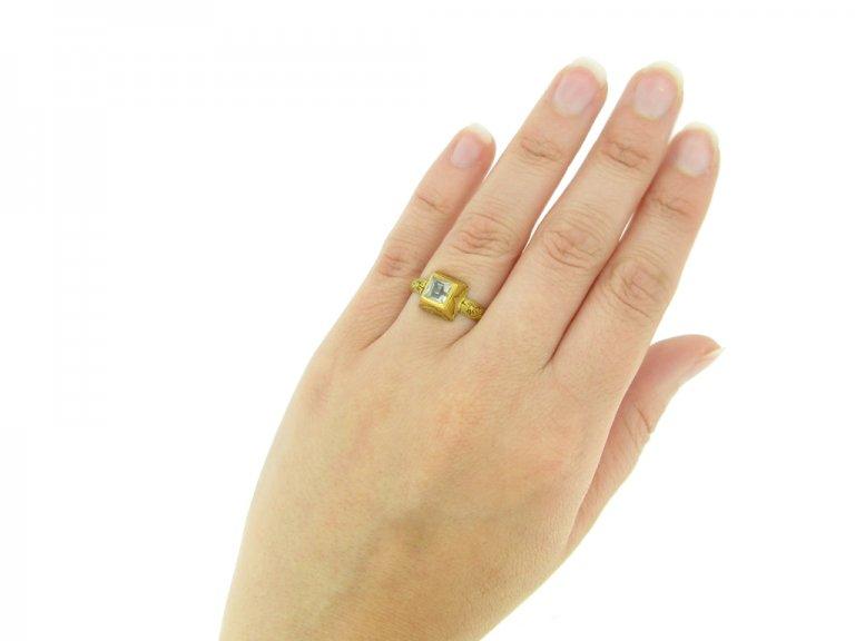 hand view Tudor rock crystal enamel ring hatton garden berganza
