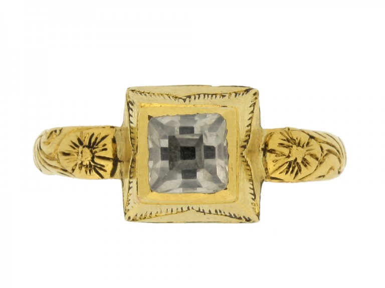 front view Tudor rock crystal enamel ring hatton garden berganza
