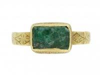 front view medieval green glass ring hatton garden berganza