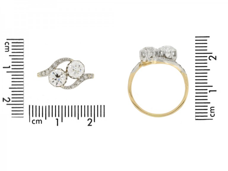 size view Antique diamond cross over ring