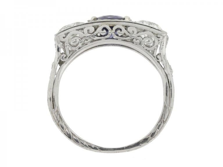back view Art Deco sapphire and diamond three stone ring
