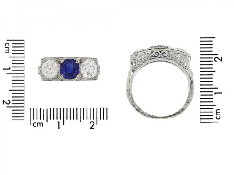 size view Art Deco sapphire and diamond three stone ring