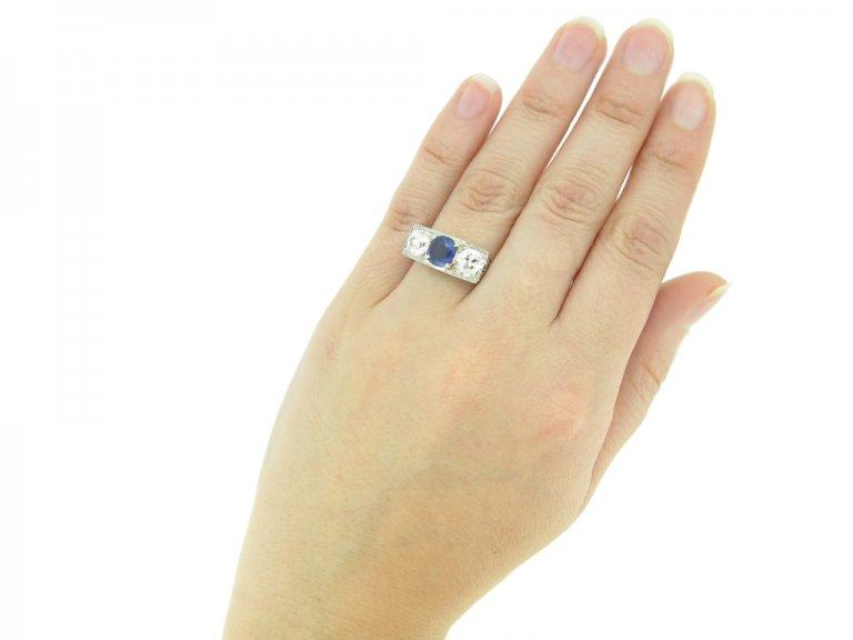 hand view Art Deco sapphire and diamond three stone ring