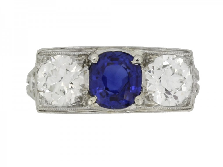front view Art Deco sapphire and diamond three stone ring