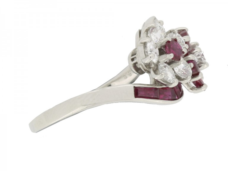 side view Lambert Brothers ruby and diamond flower ring