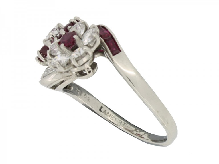 mark view Lambert Brothers ruby and diamond flower ring