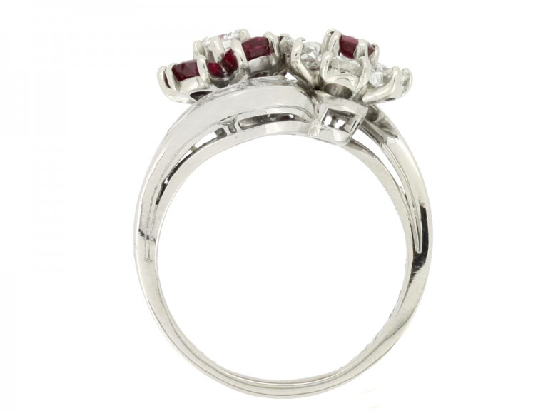 back view Lambert Brothers ruby and diamond flower ring