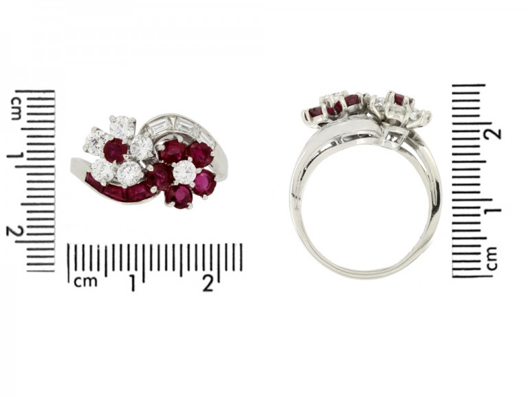 size view Lambert Brothers ruby and diamond flower ring
