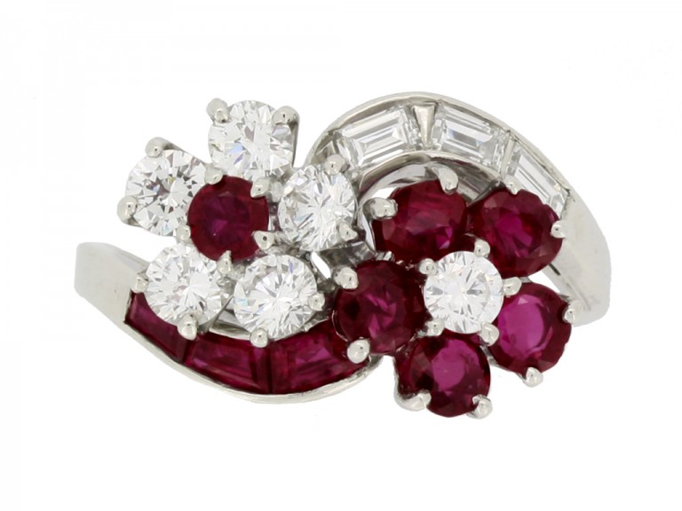 front view Lambert Brothers ruby and diamond flower ring