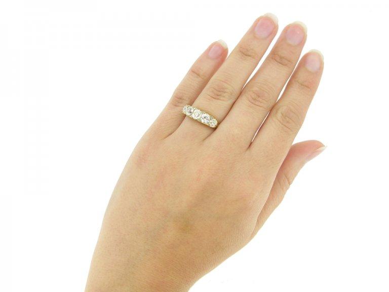 hand view antique five diamond ring hatton garden berganza
