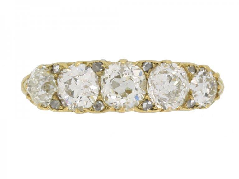 front view antique five diamond ring hatton garden berganza