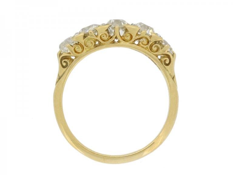 back view antique five diamond ring hatton garden berganza