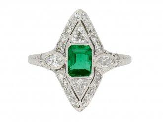 front view antique emerald diamond ring hatton garden berganza