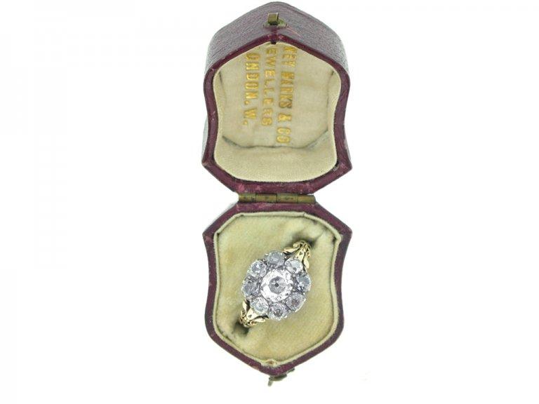 boxed view georgian diamond cluster ring berganza hatton garden
