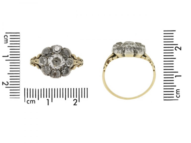 size view georgian diamond cluster ring berganza hatton garden