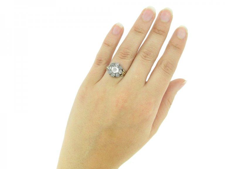 hand view georgian diamond cluster ring berganza hatton garden