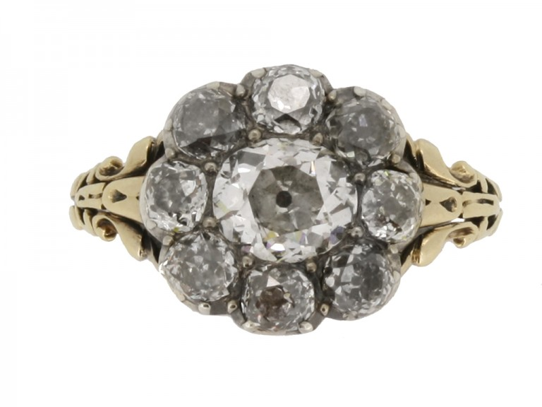 front view georgian diamond cluster ring berganza hatton garden